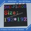 1/16 3in1 Digitalização RGB P3 P3 Interior Full color módulo de LED para Publicidade de mídia HD Display LED 192*192mm 64*64 pixels