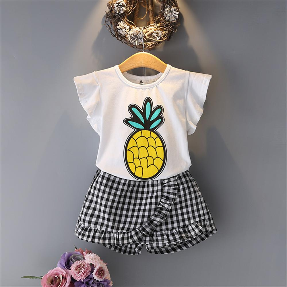 2018 Summer O-Neck Sleeveless Toddler Girl Pineapple Tops Lattice Pants Girls Suit 2Pcs Kids Clothes Children Clothing Sets 3pcs toddler baby girls children clothing sets kids girl o neck lace tops long sleeve t shirt floral pants clothes outfit set