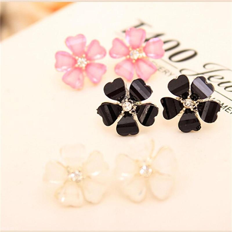 1pair Flower Crystal Rhinestone Ear Stud Earrings for Women Girls White/Black/Pink Romantic Earring