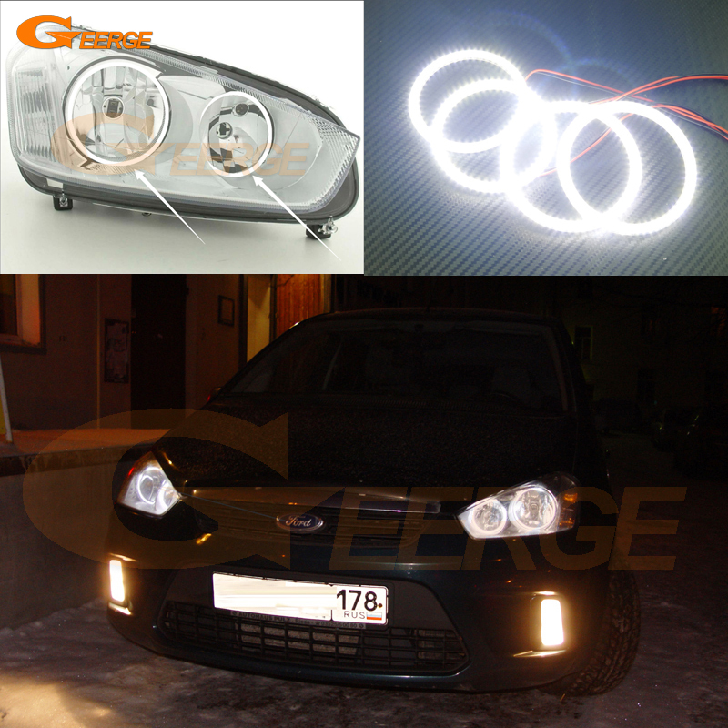 For Ford C-Max MkI 2008 2009 2010 Halogen headlight Excellent Ultra bright illumination smd led Angel Eyes kit Halo Ring