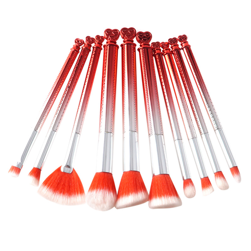 Fantasy Heart Shape Handle Makeup Brushes Set Powder Foundation Eyeshadow Contour Brushing Fan Brush 10pcs Beauty Cosmetic Tools new store free shipping beauty and the beast rose gold makeup brush cosmetic brush woman gift eyeshadow contour concealer