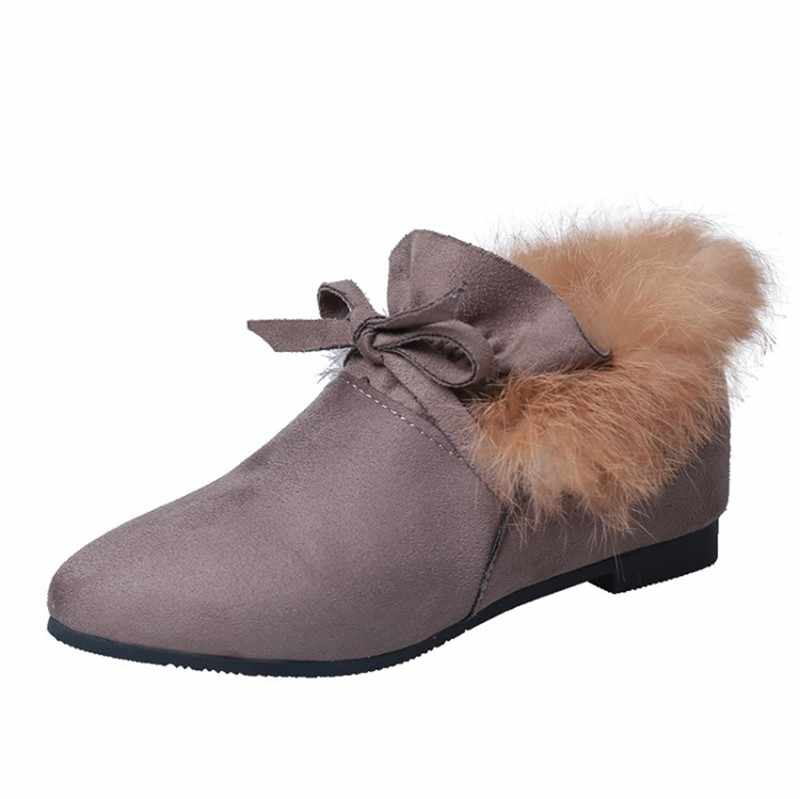 COOTELILI Kadın Botları Kış Sonbahar yarım çizmeler Kadın Botları Için Kayma Gerçek Kürk Kauçuk düz çizmeler Bayanlar Kadın Ayakkabı 35- 39