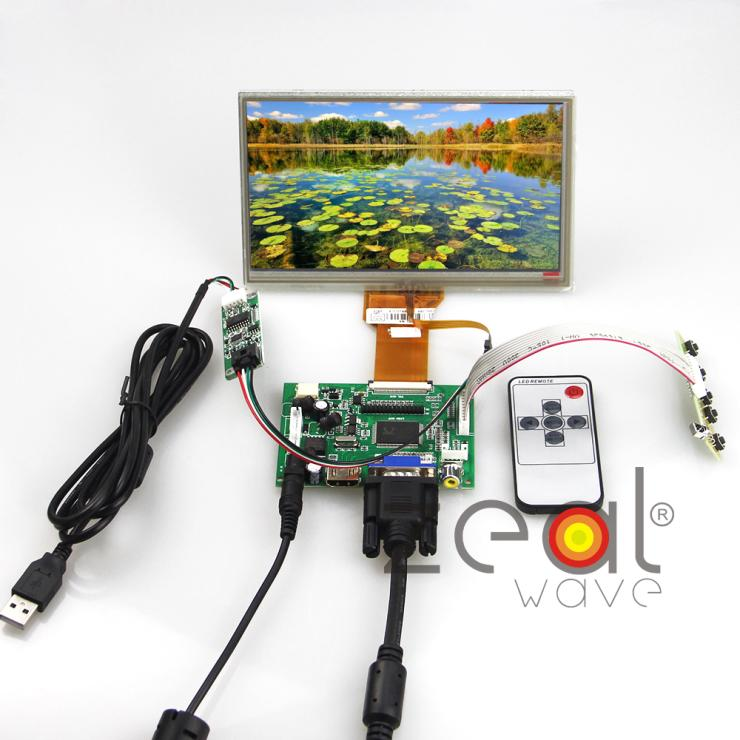HDMI/VGA/AV+Control Driver Board Card+Touch Screen+7inch AT070TN90 AT070TN92 800x480 FPC Length 80.15mm LCD Display Raspberry Pi hdmi dvi vga audio lcd control board with 7inch 800x480 at070tn92 lcd screen