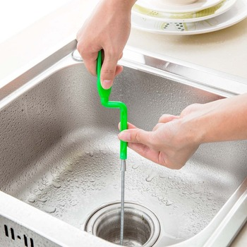 OTHERHOUSE 2.4m Kitchen Bathroom Sink Drain Cleaner Strainer Sewer Filter Dredge Device Hair Dirt Cleaner Toilet Removal Clog