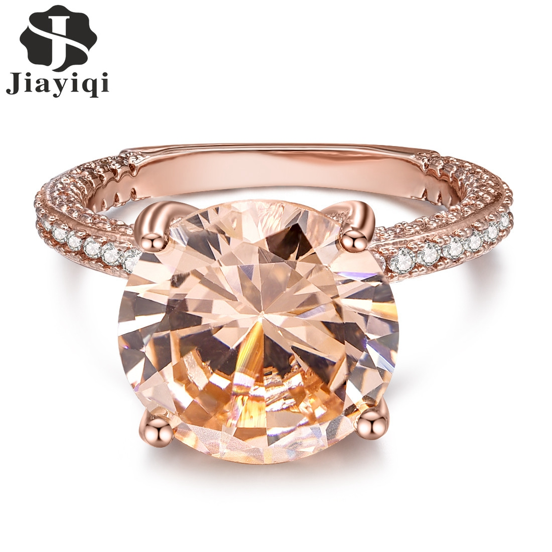 Fashion Rose Gold Color Big Stone Simple Zircon Rings For Women Wedding Party Jewelry-in Wedding ...