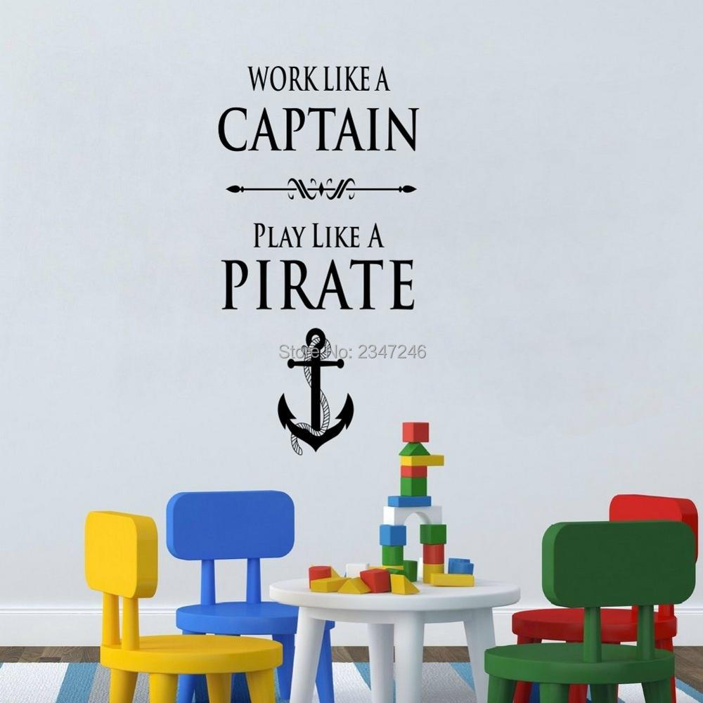 walls work promotion shop for promotional walls work on com creative anchor quotes wall decal work like a captain play like a pirate art lettering vinyl decal for room decoration
