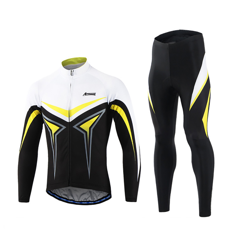 ARSUXEO Men s Long Sleeve Cycling Clothing Set Road Mountain Bike MTB Jersey Sets with Sponge