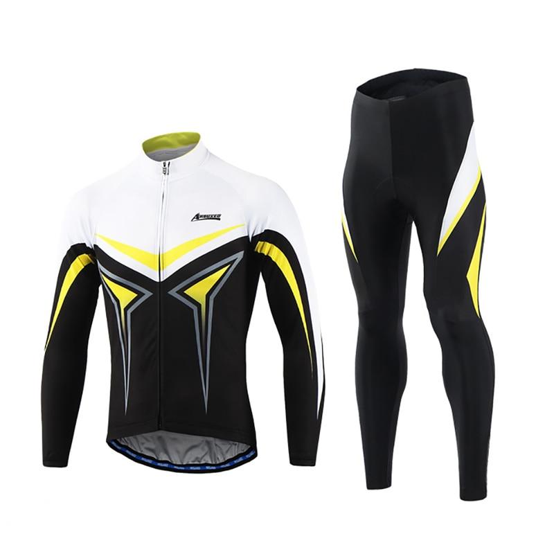 2018 Pro Team Mens Long Sleeve Cycling Jersey Set Road Mountain Bike MTB Clothing Sets Sponge Pad Bicycle Sportswear Uniforms