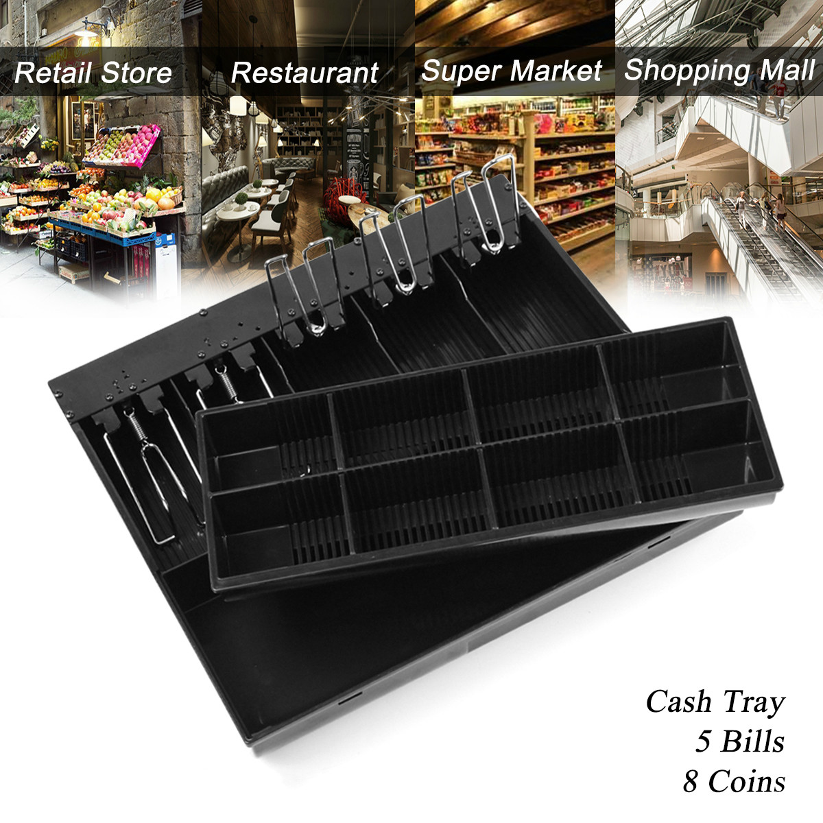 Black 5 Bills 8 Coins Cash Register Money CashTray Cash Drawer Cashier Storage Box Money Drawer 410 Series