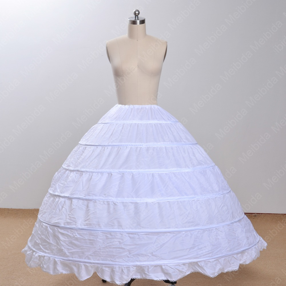 Online Shop Plus Size Peticoats For Wedding Dress 6 Hoops Crinoline Petticoat 2015 Hoop Skirt One Layer Slip Imported China