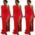 Новая мода 2016 женщины платья одно плечо полный рукав слэш шеи боковые сплит женщины bodycon элегантный длиной макси платья TM068