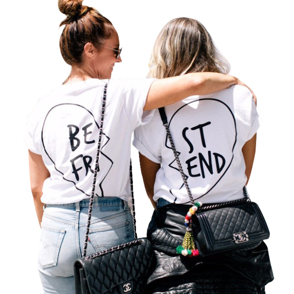 Best Friends T Shirt Women Summer Vegan Tumblr Harajuku Kawaii Streetwear Feminist Vintage Funny White Tops Plus Size
