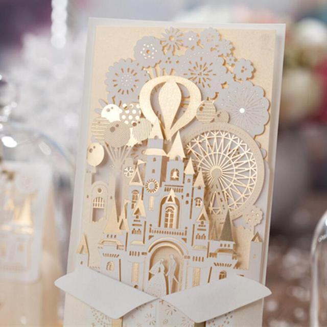 50 Teile/paket 3D Hochzeitseinladungen Anpassen Laserschneiden  Einladungskarten Braut Und Bräutigam Schloss Hochzeit Gefälligkeiten  Casamento