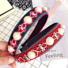Korea National characteristics Wool pearl Hair Accessories Colorful Band Bows Flower Crown Headbands For Women