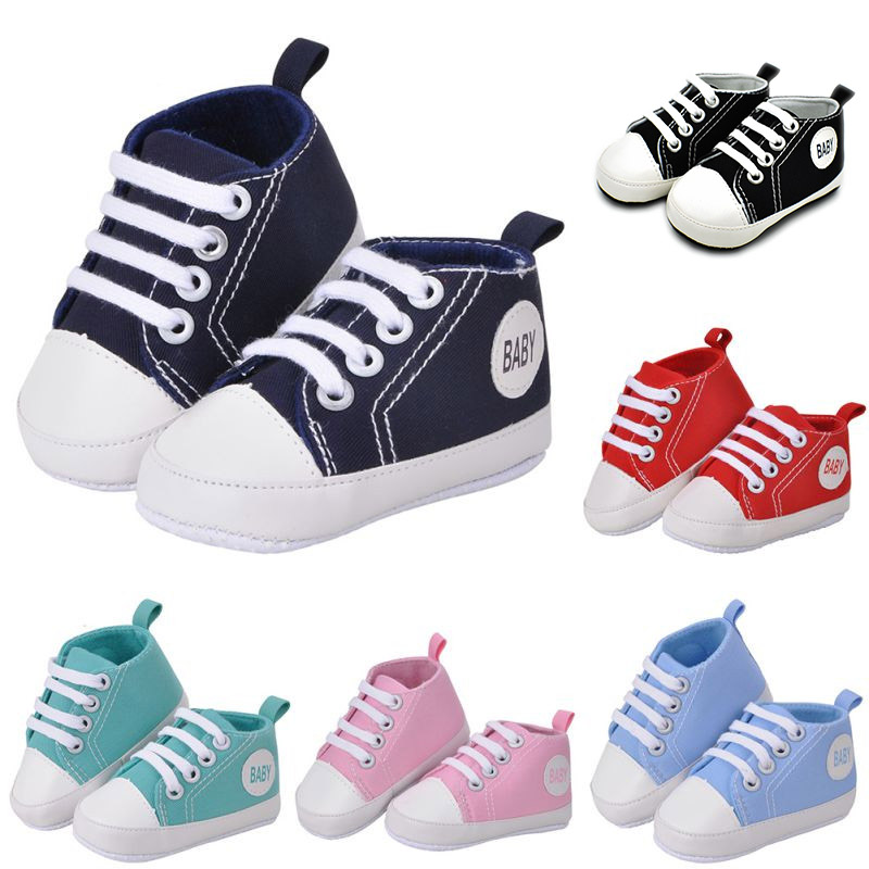 0 2 year Baby shoes newborn soft Solid canvas Anti slip shoes sneaker Fashion patch cotton Baby boys girls shoes in First Walkers from Mother Kids