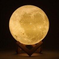 Akumulator 3D Print Księżyc Lampa LED Zmiana Przełącznik Dotykowy LED Światło Boże Narodzenie Wystrój Sypialni Regał Dla Domu Festiwal Prezent