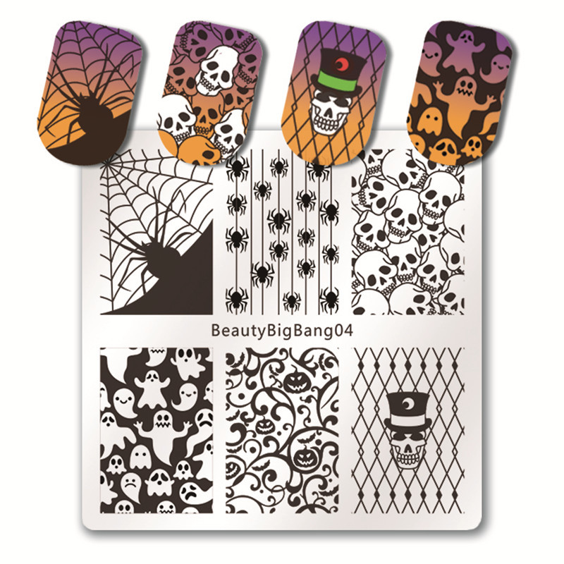 BeautyBigBang 6 PCS Nail Stamping Plates Set New 2018 Summer Halloween pattern Nail Design Nail Art Stamp For Nails Template beautybigbang 5pcs nail stamping plates rectangle nail stamping plates summer flower nail template nail art stamping