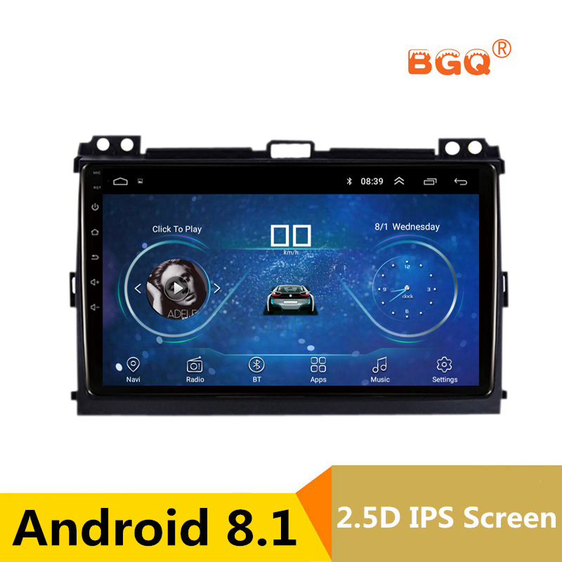 9 2.5D IPS Screen Android Car DVD GPS For Toyota Prado 120 Land Cruiser 2004-2009 audio radio stereo navigator tape recorder silverstrong 2din ips dsp android7 1 gps car radio for toyota prado 120 for lexus gx470 car gps land cruiser prado 120 ips dsp