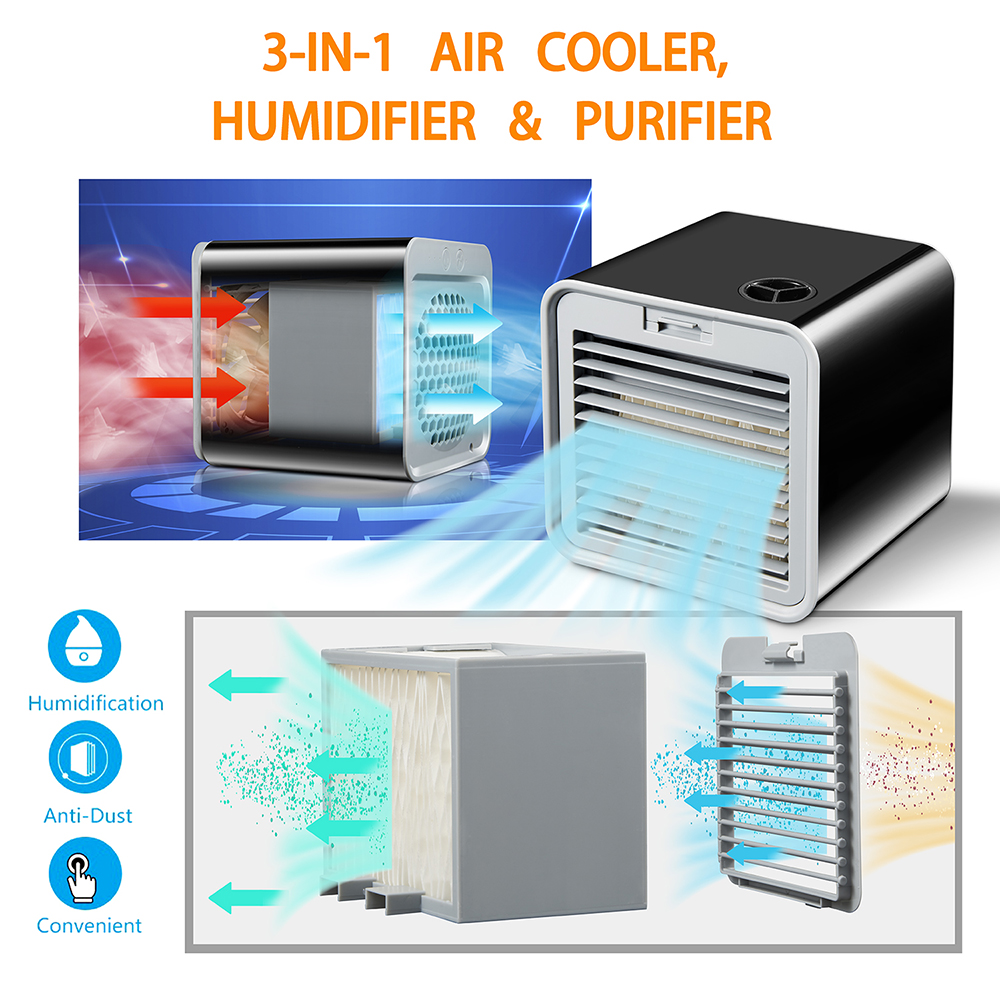 2rd Generation Mini Air Conditioner Artic Air Cooler USB Personal Space Cooler Fan Air Cooling Fan Device Watertight When Moving in Fans from Home Appliances