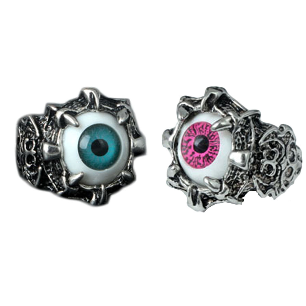 Men/'s Vintage Punk Biker Stainless Steel Black Silver Red Eyeball Evil Eye Rings