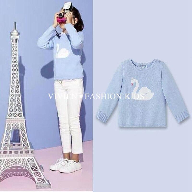 jacadi Belababy Brands Girls Autumn Owl Sweater 2016 New Fashion Children Long Sleeve Knitting Warm Clothing