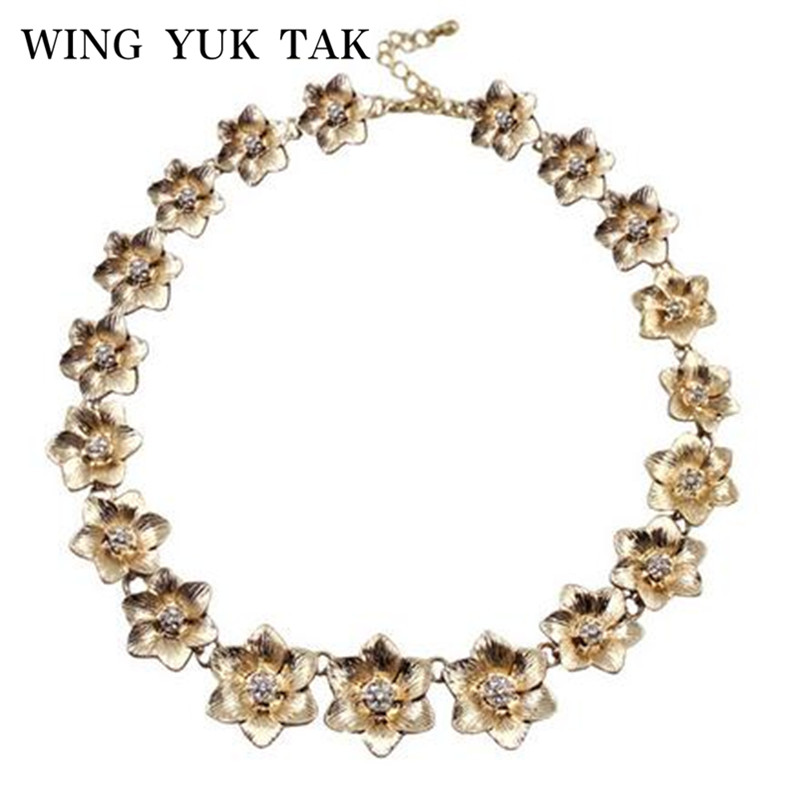 wing yuk tak Hot Sale Trendy Collier Collares Necklaces New Design Fashion 3D Flower Necklace For Women Jewelry Wholesale