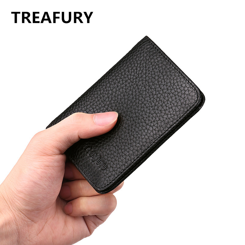 Treafury New fashional genuine leather short wallet  luxury brand women wallets cowhide leather men small purse with coin pocket