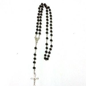 Оптовая продажа, 12 шт./лот, смешанные цвета, черный Натуральный Сердолик, бисер, четки, дерево, крест, распятие, католическое ожерелье, беспла...