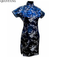 New Arrival Navy Blue China Female Satin Cheongsam Mini Qipao Dress Mujere Vestido Plus Size S