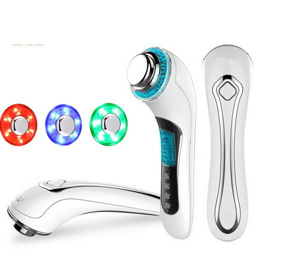 USB Rechargeable Galvanic Spa Ultrasonic Ion Photon Therapy Facial Beauty Face Massager Roller Skin Lifting 3mhz ultrasonic facial massager galvanic deep cleaning led light photon care acne removal skin rejuvenation face lift spa beauty