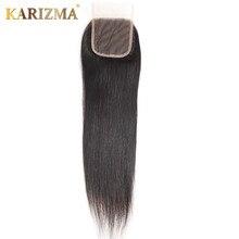 Karizma Straight Hair Lace Closure 4*4 100% Human Hair Weave Closures Free Part Natural Color 10-18inches Remy Hair
