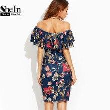 SheIn Summer Dress 2017 Clothes Women Short Sleeve Multicolor Floral Print Off The Shoulder Ruffle Sheath Dress