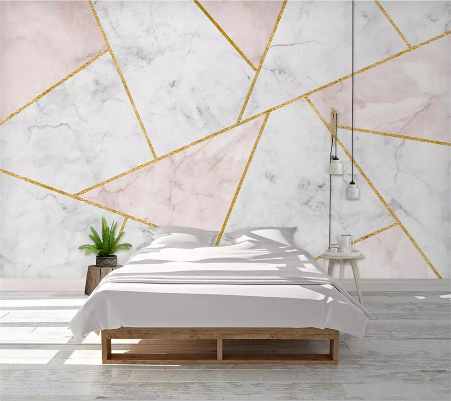 Beibehang Custom Wallpaper 3d Murals Abstract Geometric Marbled Gold Lines Sofa Background Wall Papers Home Decor 3d Wallpaper