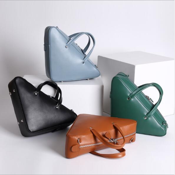 Customized new catwalk bag handbag multi-purpose fashion shoulder diagonal leather handbag triangle bag $ min handbag shoulder diagonal three purpose butterfly spiraea lingge bag mar25