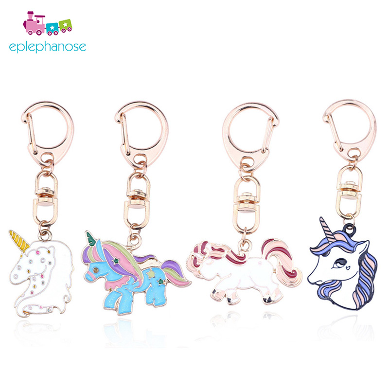 Pom Pom Metal Unicorn Key Ring Kids Girls Bag Pendant Soft Stuffed Toys Keychain Plush Pom Hang Pendant Girls Birthday Gift