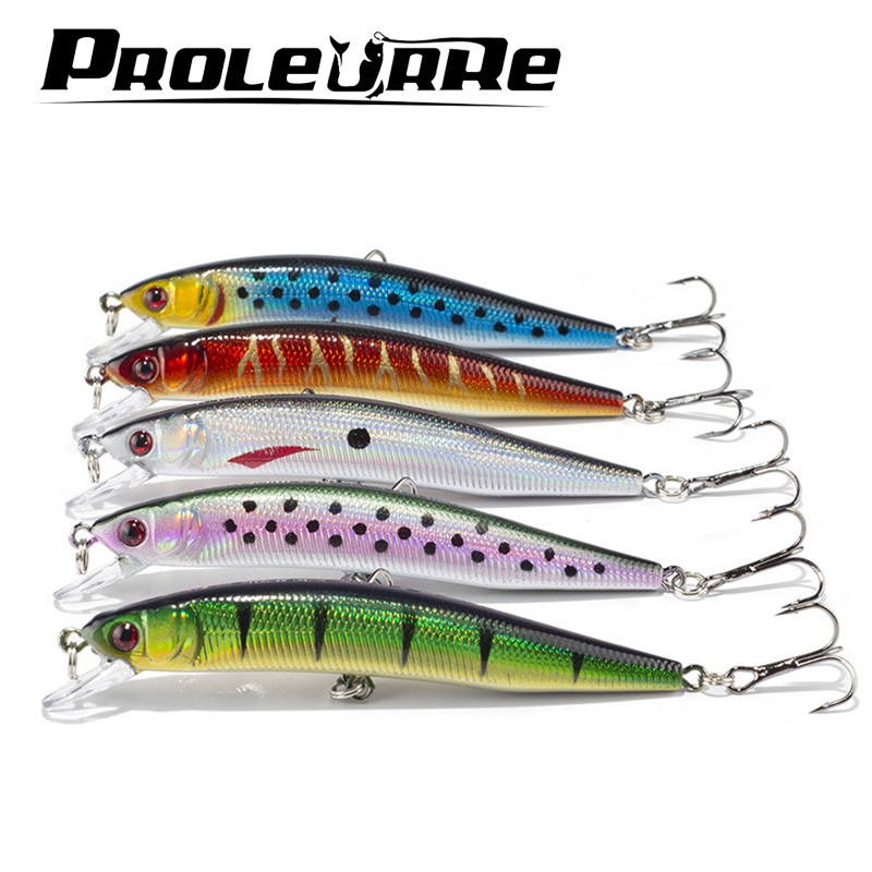 Proleurre 5pcs/lot 10cm 8.5g Floating Minnow Fishing Lure Laser Hard Artificial Bait 3D Eyes Fishing Wobblers Crankbait Minnows 8pcs set 10cm 8 5g floating minnow fishing lure laser hard artificial bait 3d eyes fishing wobblers crankbait minnows pesca