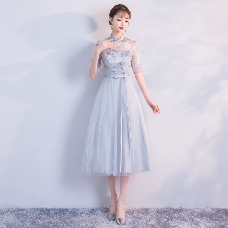 A-Line Midi Dress Retro Bridesmaid Dresses For Wedding Party For Woman Floral Embroidery Empire Back Of Bandage Grey Colour
