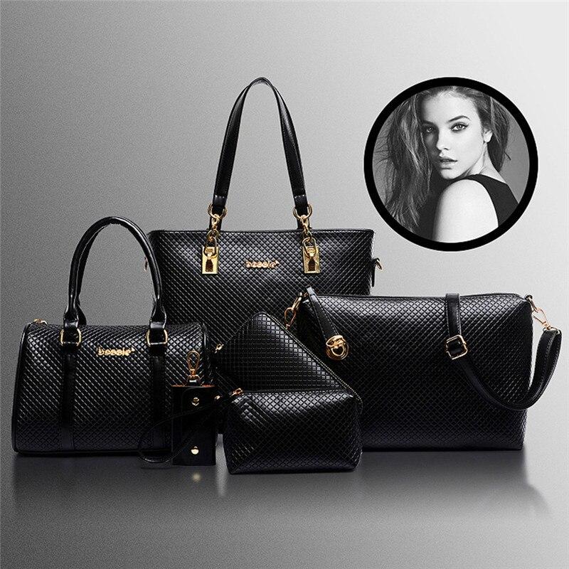 6PcsSet Fashion Women Composite Bags PU Leather Diamond Lattice Print Women Handbag Shoulder Bag Wallets Purse Key Bag