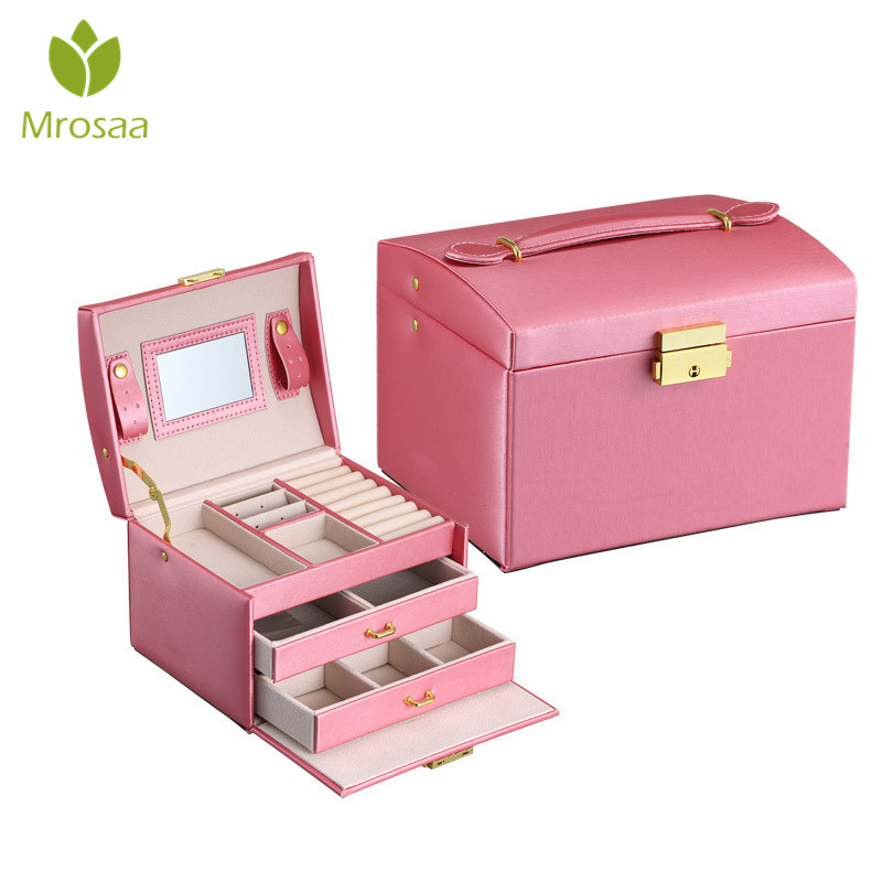 Mrosaa Storage-Organizer Earrings Display Travel-Case Jewelry-Box Portable Zipper Three-Layers