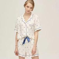 Fashion Pajama Summer New Pajamas Lace Up Sleepwear 3 Pcs Set Shirt Shorts White Printi Women