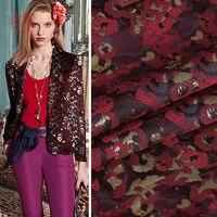 Américain style de luxe vin rouge or léopard jacquard brocade tissu vêtements pour manteau tissu tecido stoffen fabrc telas SP5154