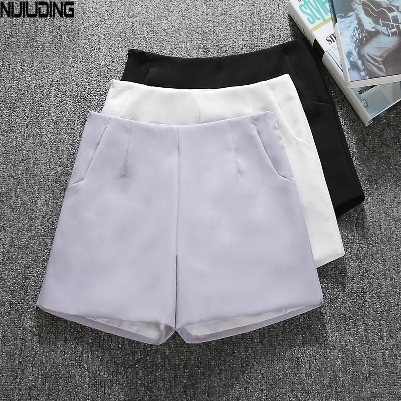 NIJIUDING Summer Style Fashion Casual High Waist Shorts Black Gray White Casual Vintage Women Short S M L XL Wide Leg Shorts