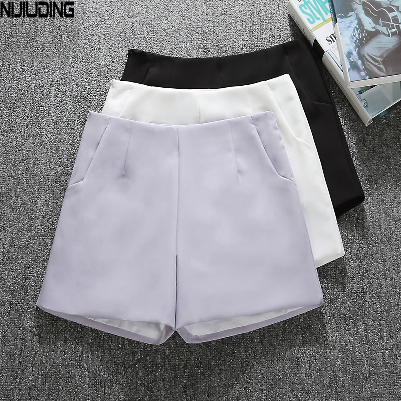 NIJIUDING Summer Style Fashion Casual High Waist   Shorts   Black Gray White Casual Vintage Women   Short   S M L XL Wide Leg   Shorts