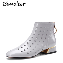 Bimolter Fretwork Boots Women Cow Leather Low Chunky Heel Pointed Toe Zip Pumps Short Ankle Shoes Hollow Out Retro Boot NB071 elegant soft pink velvet transparent block heels ankle boots slim fit pointed toe chunky heel back zip short women fashionboots