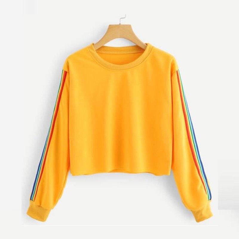 Gothic White Yellow Black Rainbow Stripe Hoodies Sweatshirt