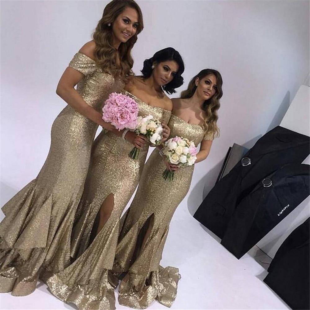 Sparkly Sequins Mermaid Wedding Guest   Dress   Boat Neck Off The Shoulder Front Split Long Elegant   Bridesmaid     Dresses   2019 Cheap