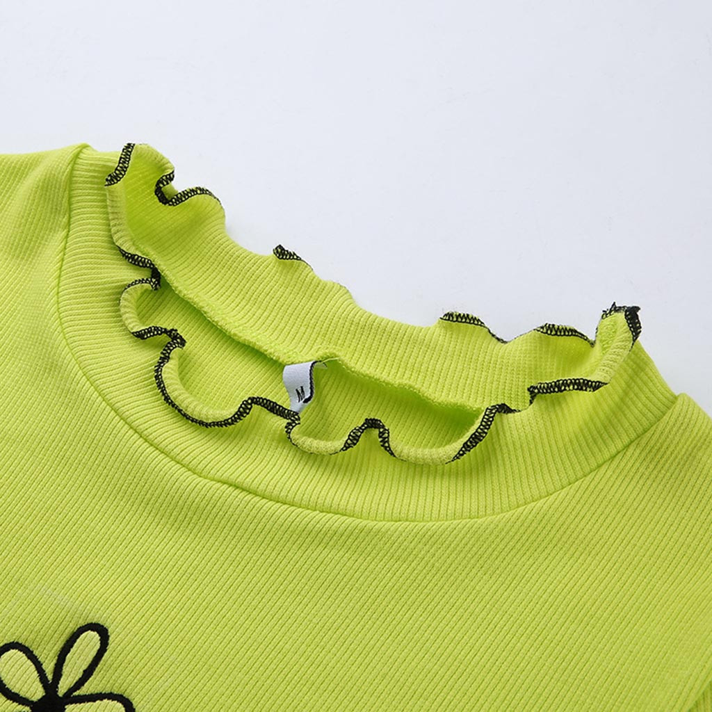 Harajuku Summer Fashion Womens Green Short T-Shirt Mesh Sheer Crop Tops Flower Print Short Sleeve T Shirt koszulki damskie 2019