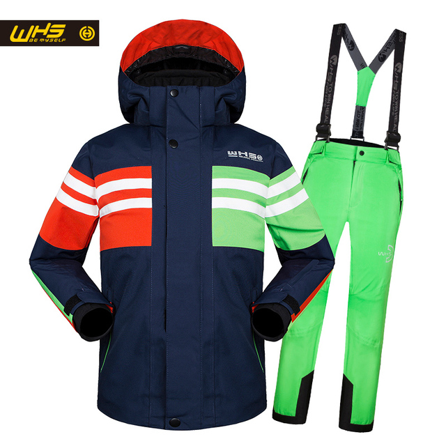 WHS 2017 New boys snow suits kid ski jacket teenage windproof coat girl skiing jacket in Winter 4 to 16 year jacket