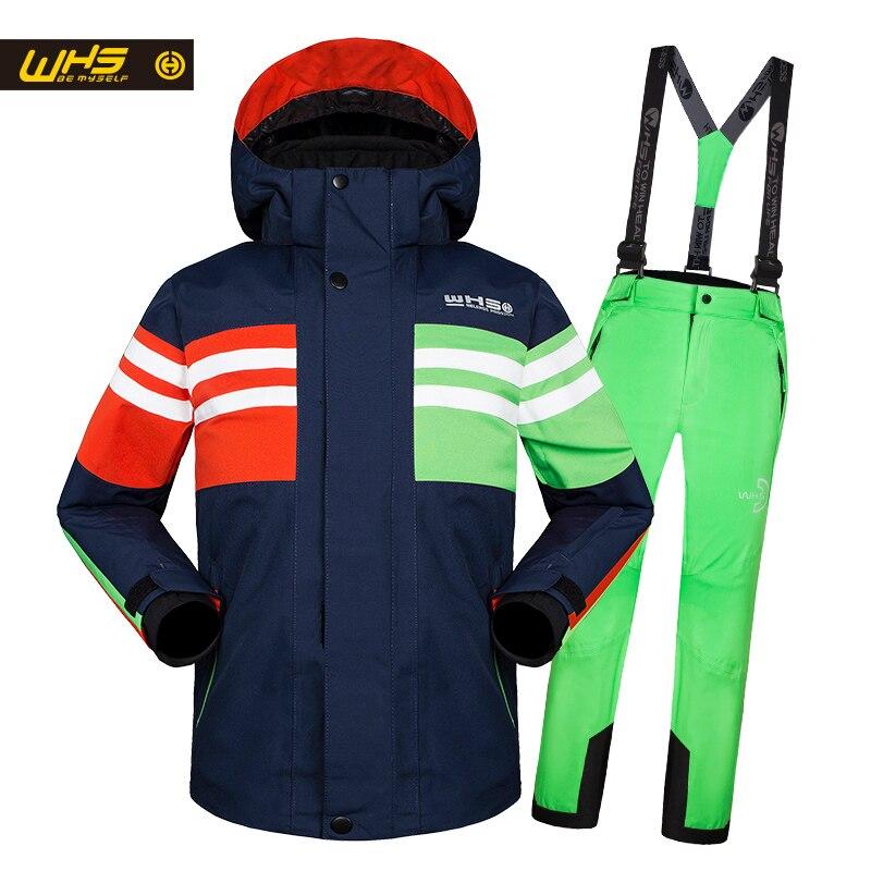 WHS offre spéciale nouveaux garçons neige costumes veste de ski enfant adolescent coupe-vent manteau garçon ski veste en hiver 4 à 16 ans veste
