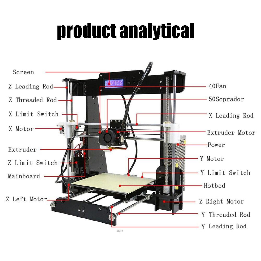 Anet A8 3d принтер impressora 3d принтер большой размер печати электронный импримант 3d принтер s DIY комплект с PLA нитью - 3
